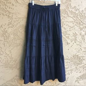 Cute Maxi Skirt Long Ankle Length Navy Blue Tiered